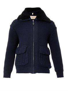 Burberry Brit Burnham shearling-collar cardigan