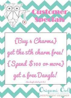 Origami Owl Customer Special Visit me at https://www.facebook.com/brittanyscharmedlife or https://twitter.com/BsCharmedLife for ideas, booking information or to learn how to change your life by becoming a designer. Shop now by following the pin-link! Brittany Reynolds, Independent Designer #13470784