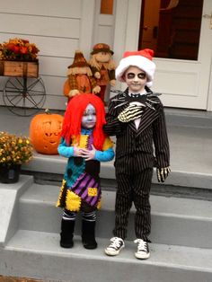 DIY Jack Skellington and Sally Stitches  costumes from Nightmare Before Christmas.