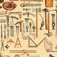 Herramientas de carpintería  y construcción. Antigua cromolitografía de máquinas, útiles, herramientas y vehículos utilizados en la antigua Roma, hecha por el ilustrador alemán German illustrator Friedrich Hottenroth (1840-1917). Detalle.