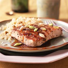 Balsamic-Glazed Tuna recipe from Cooking Light Fresh Tuna Recipes, Fish Recipes, Seafood Recipes, Vegetarian Recipes, Healthy Recipes, Healthy Foods, Yummy Recipes, Chicken Recipes, Dinner Recipes