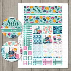 July Planner Stickers, July Monthly Kit, Erin Condren July Stickers, ECLP July Planner Stickers, Printable Monthly Kit, Summer Planner MV127