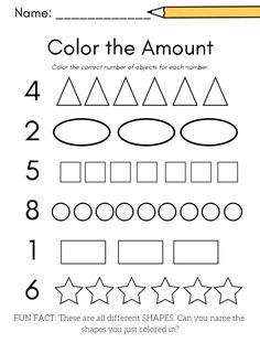 For shape AND number practice, a color the shape amount worksheet! Great for preschool or kindergart Preschool Number Worksheets, Kids Math Worksheets, Preschool Learning Activities, Free Preschool, Preschool Lessons, Worksheets For Preschoolers, Alphabet Worksheets, Preschool Curriculum Free, Learning Numbers Preschool