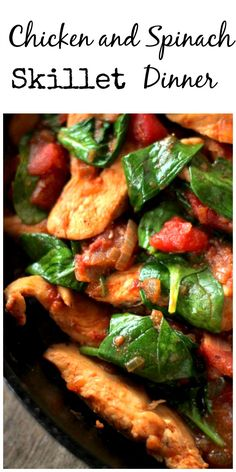 Chicken and Spinach Skillet Dinner has a wonderful fresh taste, served with long grain rice cooked in chicken broth, this skillet dinner is PERFECTION! via @https://www.pinterest.com/BunnysWarmOven/bunnys-warm-oven/