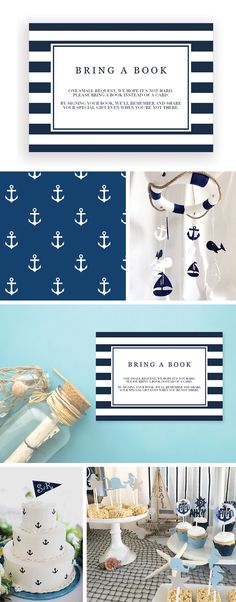 Nautical Baby Shower Boy Book Request Card by LittleSizzle. Books for Baby Bring-a-Book Printable. Sweetly request your guests to bring a book instead of a card with these navy blue book request cards. You can personalize the cards with your own words. Simply download, edit, print and trim!