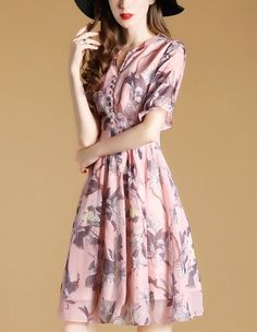 Women Clothing Chiffon A-Line Dress Elegant Print Casual Plus Size – Ozzy Bella All Great Apparel