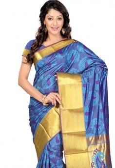 Fetching Silk Blue Patch Border Work Designer Saree