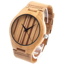 Luxury Men's Design Wooden Bamboo Watches With Real Leather Band | Features: Christmas Gift, Valentine Gift, Birthday Gift, Anniversary Gift