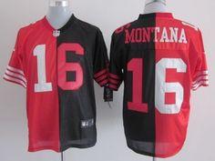 Nike San Francisco 49ers #16 Joe Montana Red/Black Two Tone Elite Jersey
