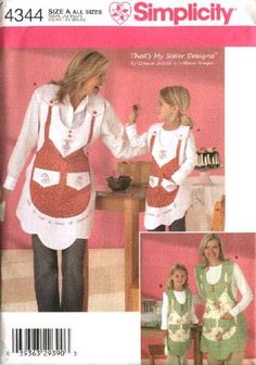 Simplicity Sewing Pattern 4344 Girls Misses Matching Vintage Style Aprons Embroidery   Simplicity+Sewing+Pattern+4344+Girls+Misses+Matching+Vintage+Style+Aprons+Embroidery