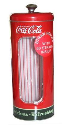 COKE COLA STRAW DISPENSER HOLDER BIRTHDAY GIFT SET TIN COLLECTABLE DECORATION