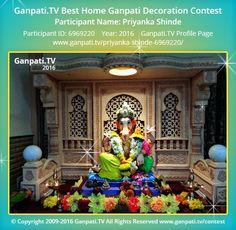 Priyanka Shinde Home Ganpati Picture 2016. View more pictures and videos of Ganpati Decoration at www.ganpati.tv