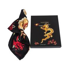 Funky dragon silk scarf Valentino Garavani ($335) ❤ liked on Polyvore featuring accessories, scarves, silk shawl, silk scarves, valentino scarves and pure silk scarves