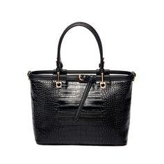 handbag textured faux croco pu leather tote bag vintage shoulder bag