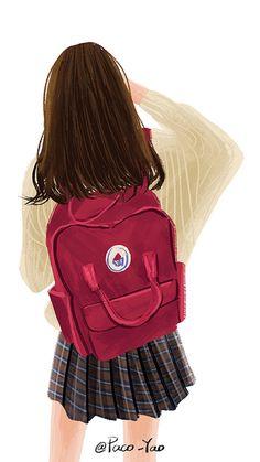 Most Popular brown hair aesthetic girl cartoon ideas Girl Cartoon, Girly Art, Illustration Art Girl, Girl Drawing, Aesthetic Girl, Backpack Drawing, Cute Art, Wattpad Covers, Digital Art Girl
