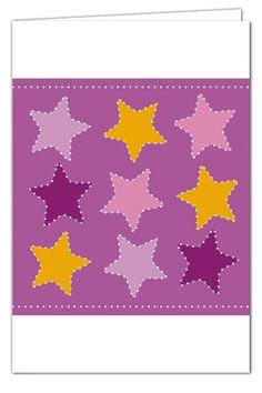 Sterngrüße zum Prickeln - Lila - Weihnachtskarte mit orangenem Umschlag
