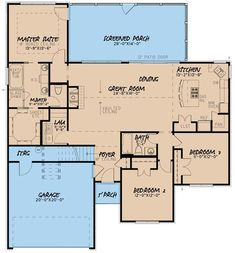I like this layout, a lot. 3 Bed Southern Traditonal House Plan With Bonus Over Garage - Southern House Plans, Ranch House Plans, Best House Plans, Dream House Plans, Small House Plans, House Floor Plans, The Plan, How To Plan, Bonus Rooms