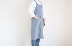 Delantal de utilidad mens lino gris azulado oscuro
