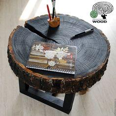 Купить ЖУРНАЛЬНЫЙ СТОЛИК из спила для интерьера LOFT/KRAFT/ECO - черный, стол, стол из спила, спил дерева