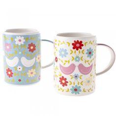 Gisela Graham Patchwork Love Birds Ceramic Mugs