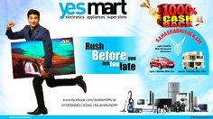#Dasara #Diwali Festive #Offers @YesMart! For this Festive Season Shop @YesMart and Grab Brand '4k Ultra Hd Tv's' in Awesome Offers. Not only Offers on Electronic products but also win Family Holiday Trips & Jewelry Items as Gifts. So Hurry up!! One can't Resist these Beautiful Offers from #YesMart. For more info Visit - www.yesmart.in