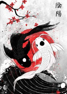 "Koi fish are the domesticated variety of common carp. Actually, the word ""koi"" comes from the Japanese word that means ""carp"". Outdoor koi ponds are relaxing. Japanese Artwork, Japanese Tattoo Art, Japanese Tattoo Designs, Japanese Painting, Japanese Art Modern, Traditional Japanese Art, Japanese Art Prints, Japanese Culture, Japanese Art Styles"