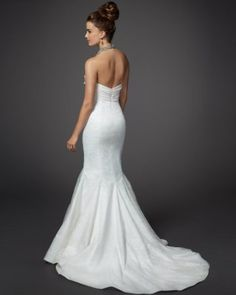 Drape Top Lace Mermaid Wedding Dress - Rami Kashou (back)