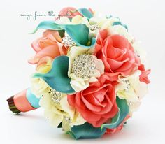 Coral Ivory Aqua Bridal Bouquet Rhinestone Brooches Wedding Bouquet - add a Groom Boutonniere - Choose Your Ribbon - Coral Ivory Aqua Blue Aqua Wedding, Beach Wedding Reception, Beach Wedding Flowers, Wedding Reception Decorations, Wedding Ideas, Wedding Stuff, Wedding Venues, Quince Decorations, Lily Wedding