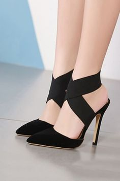 Black Suede Cross Ankle Pointed Toe Stiletto High Heel Sandals @ Fashion High Heels S High Heels Outfit, Platform High Heels, Black High Heels, Dress And Heels, High Heels Stilettos, Sexy Heels, Sandals Outfit, Heeled Sandals, Dress Shoes