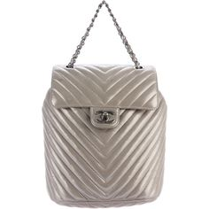 Pre-owned Chanel 2016 Chevron Urban Spirit Backpack (€2.615) ❤ liked on Polyvore featuring bags, backpacks, metallic, brown bag, draw string bag, drawstring backpacks, day pack backpack and draw string backpack