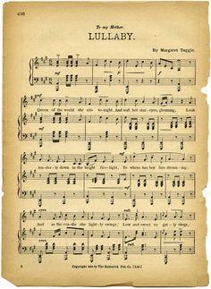 shabby sheet music | lullaby sheet music, vintage lullaby, margaret tuggle, shabby aged ...