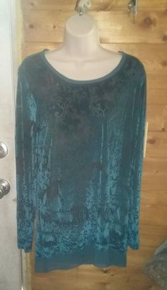 Simply Vera Wang Burnout Tunic S Velvet Sheer Teal EXCELLENT  #SimplyVeraVeraWang #Tunic