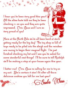 Letter from Santa Christmas Printable Free - just incase I don't get the list mailed soon enough!