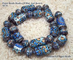 Paper Beads Shades Of Blue And Brown  Set   by PassionForPaperBeads