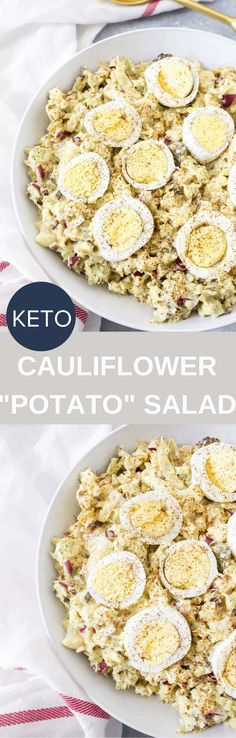 "This Cauliflower ""Potato"" Salad tastes just like the classic potato salad that you're used to, just with way less carbs and healthier ingredients!"