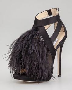 Women's Jimmy Choo Teazer Satin-Feather Sandal