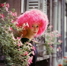Model in Pink Marabou Hat, Paris 1960 by Mark Shaw  Available: Andrew Wilder Gallery at Svenska Mobler/1st dibs