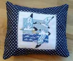 Dreampillow with seagulls above the sea cross stitch design