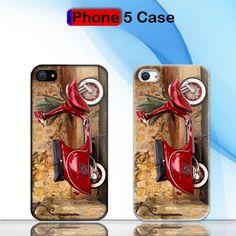 Vintage Red Vespa Retro Style Custom iPhone 5 Case Cover