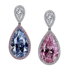 These are fairly impressive.  Jacob & Co diamond earrings featuring a 15.12ct Fancy pink diamond and a 15.92ct Fancy blue diamond.fashion #jewelry #style #diamonds  #instajewelry #earrings #earringsoftheday #earringswag #earringstagram #statementearrings #fashion #love #beautiful #style #pretty#beauty #instafashion #accessories #womensfashion #designerfashion