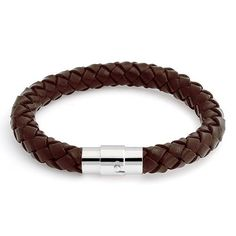Brown Braided Leather Cord Bracelet 8mm