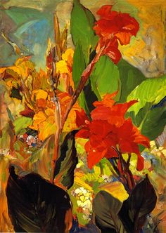 chasingtailfeathers: Franz Bischoff (American Impressionist, Cannas ✨ Love the colors and unconventional composition. DA-H Oil Painting For Sale, Painting & Drawing, Art Floral, Inspiration Art, Renoir, American Artists, Canvas Art Prints, Monet, Flower Art