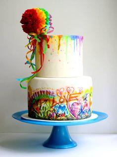 Watercolor & Graffiti Pom Pom Cake