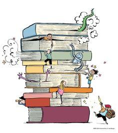 Reading, fantasy paradise / Lectura, paraiso de fantasía (ilustración de Joe…