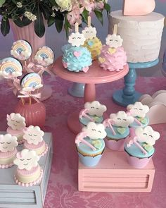 This theme may be one of the cutest for a baby birthday party or baby showers. Get inspired by this spectacular candy bar idea 9th Birthday Parties, Baby Birthday, Birthday Ideas, Cloud Party, Love Rain, Shower Cakes, Baby Shower Themes, Baby Boy Shower, First Birthdays