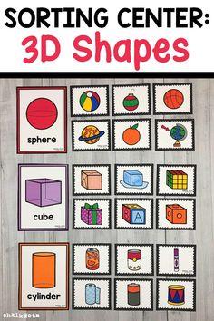 Shapes Worksheet Kindergarten, Kindergarten Activities, 3d Shapes Worksheets, Printable Preschool Worksheets, Sorting Activities, Preschool Learning, Hands On Activities, Circle Time Activities, Shapes For Kids
