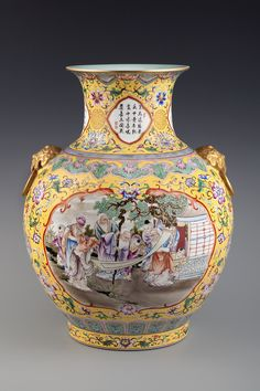 """052、A YELLOW-GROUND FAMILLE-ROSE """"TWO STORIES"""" VASE -  MID -. Of Dynasty Qing, 18 TH   CENTURY 49.3 cm. (19 3/8 in.) High清雍正黄地珐琅彩开光寿星图辅首大尊-2.jpg (1000×1500)"""