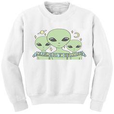 Chicnova Fashion Allergic Alien Print Sweatshirt ($8.50) ❤ liked on Polyvore featuring tops, hoodies, sweatshirts, crew-neck sweatshirts, white crewneck sweatshirt, crewneck sweatshirt, white sweatshirt and crew neck sweatshirts