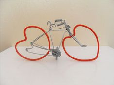 Valentines bicycle/ cake topper by Wirebicycles on Etsy, £10.00 Valentine Cake, Happy Valentines Day, Bicycle Cake, Handmade Shop, Handmade Gifts, Vintage Gifts, Clothes Hanger, Jewelry Crafts, Special Gifts