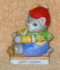 KITTY CUCUMBER  SLEDDING 2002 CHRISTMAS  ORNAMENT MNB